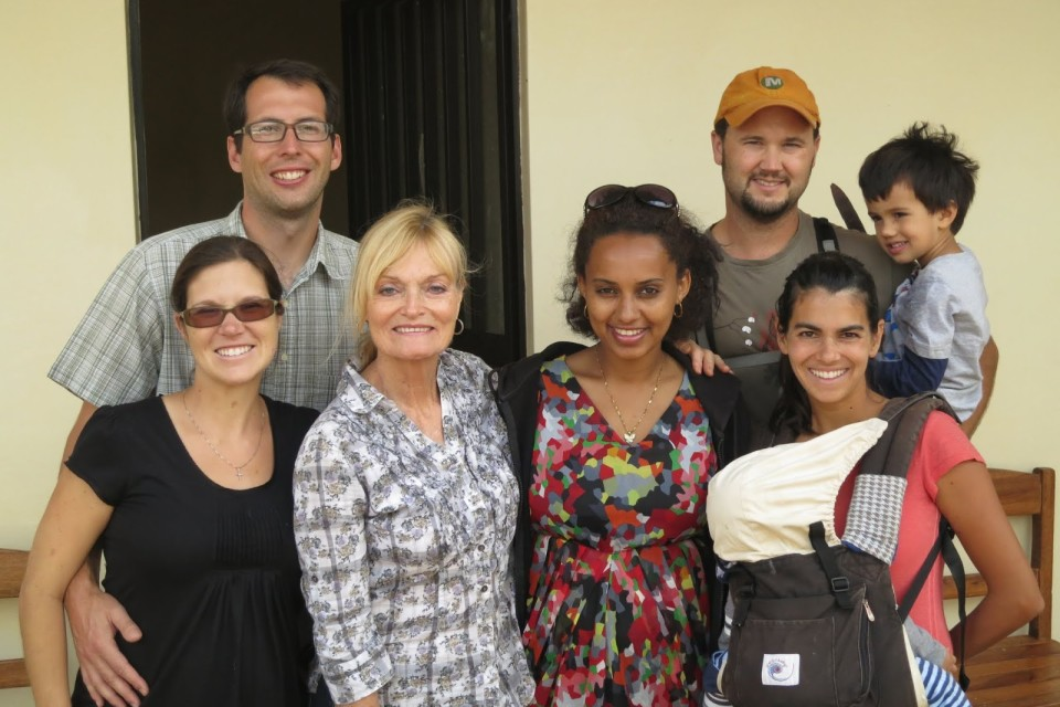 Adam and Michelle Yates (left) and Kavi and Taylor Simpson (right) at Mossy Foot Headquarters with Sharon Daly and Meskerm Yoseph