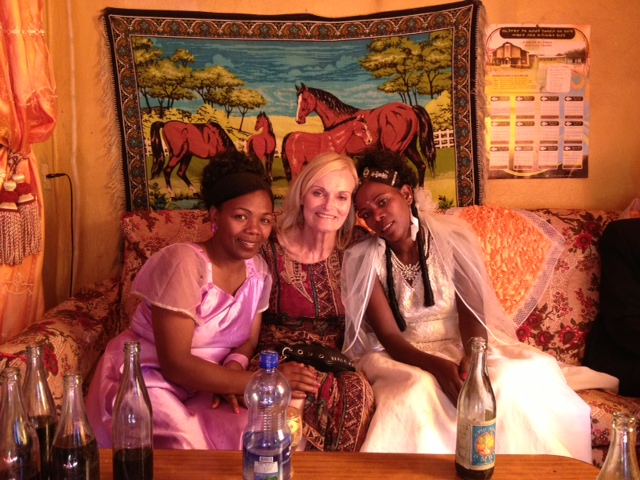 Sharon with Sitenna (on the right) and Mebrat, a Mossy Foot Project employee and on of Sitenna's bridesmaids