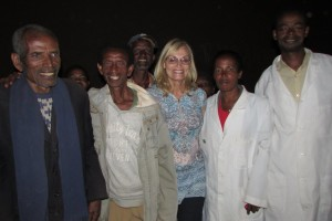 Abite and Zecharias with Sharon Daly and two clinic workers